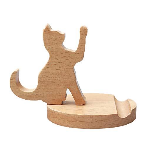 MHKBD Handy-Ständer mit niedlicher Katze, aus Holz, Handy-Halter, Schreibtisch-Ständer für alle Smartphones, Schreibtisch-Dekoration, tolles Geschenk für Thanksgiving und Weihnachten