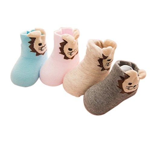 VWU Lot de 4 Paires Unisexe Bebes Infant Antiderapants Chaussons Cartoon Animal Bande Tout Petit Nouveau-Nés Bébé Chaussettes en Coton Lion 0-6 mois