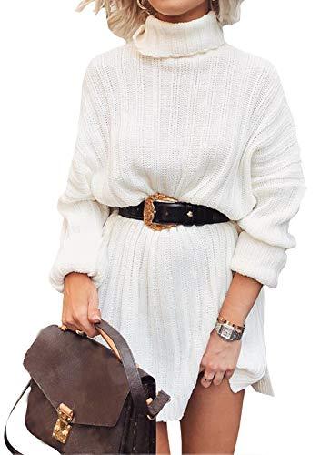 Yidarton Pulloverkleid Damen Winter Pulli Rollkragen Casual Lose Langarm Strickkleider Minikleid Sweater Kleid (Weiß, Large)