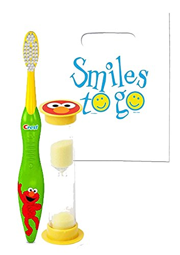 Sesame Street'Elmo' Inspired 2pc Bright Smile Oral Hygiene Bundle! Includes Soft Manual Toothbrush & Brushing Timer! Plus Dental Gift & Remember to Brush Visual Aid!
