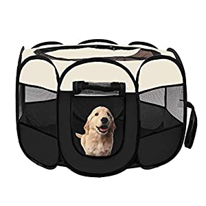 afuLaI 40″ Portable Foldable Pet Playpen Exercise Pen Kennel with Carrying Case for Dog Cat Rabbit Hamster Indoor/Outdoor Use, Black