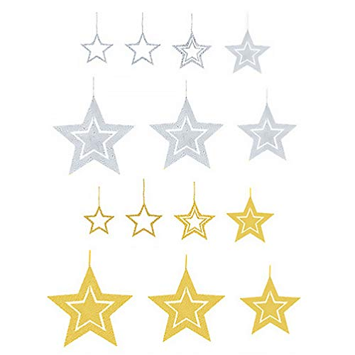 TOYANDONA Hollow Star Hanging Ornament Glitter Gold Silver Star Bunting DIY Ceiling Twinkle Paper Pentagram Banner Garland for Home Wedding Party Ornament Christmas Decoration 14pcs