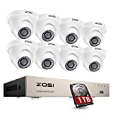 ZOSI 8CH 1080P Security Camera System with Hard Drive 1TB,H.265+ 8 Channel 5MP Lite HD-TVI DVR Recorder and 8pcs 1920TVL Weatherproof CCTV Dome Cameras Indoor Outdoor, 80ft Night Vision,Remote Access
