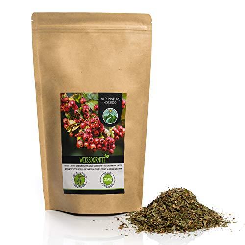 Weissdorn Tee (250g), geschnitten, schonend getrocknet, Heckendorn 100% rein und naturbelassen zur Zubereitung von Tee, Kräutertee, Weissdorntee