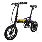 SWAGTRON SWAGCYCLE EB5 Plus Folding Electric Bike with Removable Battery | City eBike with Pedals & Swappable 36V Battery | 14' Wheels, 250W Motor, Built-in Carry Handle, Black