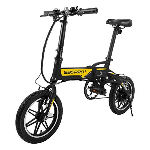 Swagtron SWAGCYCLE EB5 Plus Folding Electric Bike with Removable Battery | City eBike with Pedals & Swappable 36V Battery | 14†Wheels, 250W Motor, Built-in Carry Handle, Black