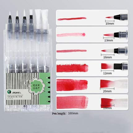 MEGREZ Marie's Coloring Base Marker, Aqua Painting Brush for Water Soluble Colored Pencil, Water Powdered Pigment Watercolor Paint, Chinese Calligraphy Drawing Practice, Point&Flat Tip Pens, 6 Pcs/Set