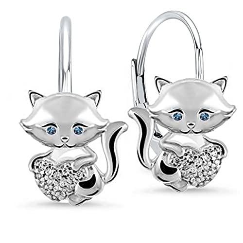 Zirkonia Katze mit blauen Augen Herz Ohrringe für Mädchen Kinder Hängeohrringe aus 925 Sterling Silber (X3/ Katze)