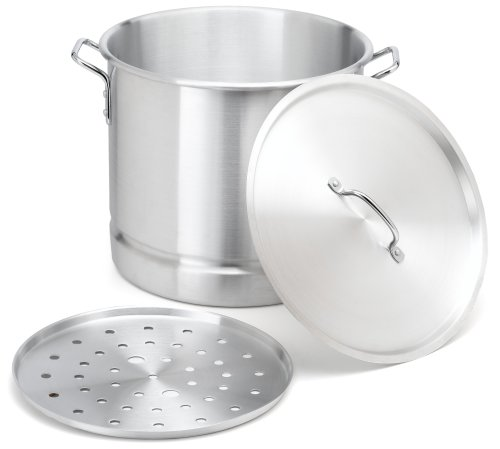 IMUSA USA Aluminum Tamale and Steamer Pot 32-Quart, Silver