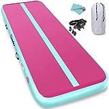 Furgle colchoneta de gimnasia inflable pista de aire colchoneta colchoneta de yoga colchonetas de ejercicio con bomba de aire eléctrica (gris + rose, 300x100x10cm)