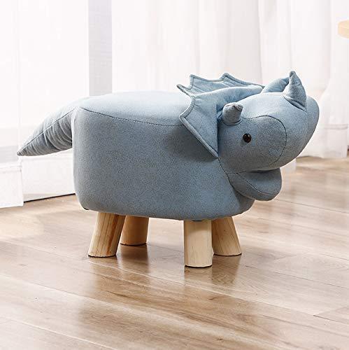 動物のフットスツールキッズフットレストスツールオットマンパッド入りクッション木製脚大人フットスツールプーフスツールレストシート、トリケラトプス