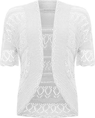 ZEE FASHION Strick-Bolero / offene, gehäkelte Strickjacke für Damen, Größen EU 36 - 58 Gr. 34-36, weiß