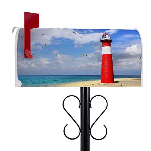 BANJADO US Mailbox | Amerikanischer Briefkasten 51x22x17cm | Letterbox Stahl weiß | mit Motiv Leuchtturm Westkapelle | inklusive schwarzem Ständer