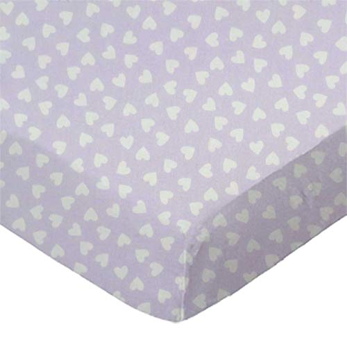 Save %41 Now! SheetWorld Fitted 100% Cotton Percale Pack N Play Sheet 29 x 42, Hearts Pastel Lavende...