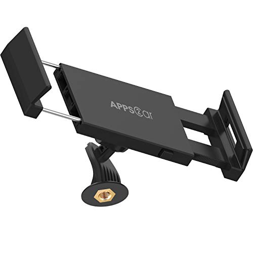 APPS2Car 2 in 1 Tablet Phone Tripod Mount Quick Swivel Tilt Adjustable 360 Rotating Holder Compatible with iPad Mini Air Pro iPhone Samsung Tablets Adapter Clamp Stand Attachment for Video Recording