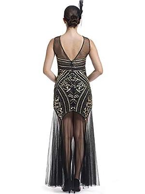 KILOLONE Women 's 1920s Sequins Beaded Dress Art Deco Gatsby Maxi Long Evening Prom Dress