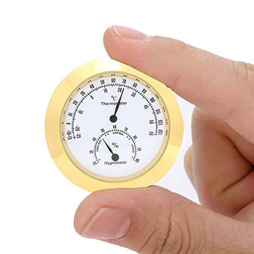 Tbest Ronde Thermometer Hygrometer Binnen/buiten Gitaar Viool Thermometer Hygrometer Vocht Digitale Vochtigheid Temperatuur Meter Monitor voor Gitaar Viool Case Onderdelen Gouden/Zilver (Goud)
