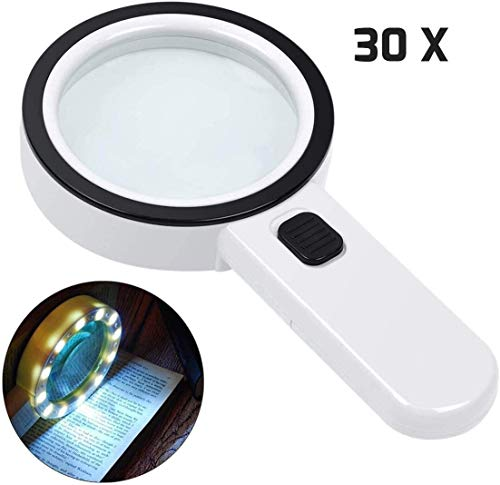 30X Vergrootglas met licht, Handheld groot vergrootglas 12 LED verlicht verlichte vergrootglas for Macula Degeneratie, Senioren Reading, solderen, Inspectie, munten, sieraden, Exploring