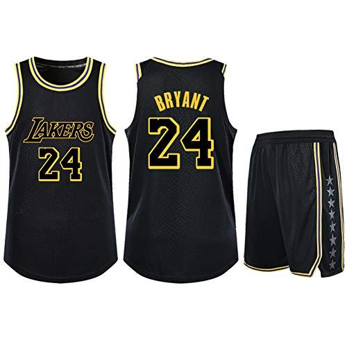 Lebron James # 23 Kobe Bryant # 24 Lakers Basketball Jersey Hombre Camisetas + Shorts Traje - Sudadera sin Mangas de Secado rápido de Malla para niños/Adultos- Black 1-XXXL
