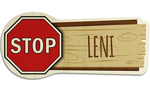 printplanet Türschild aus Holz mit Namen Leni - Motiv Stopschild - Namensschild, Holzschild, Kinderzimmer-Schild