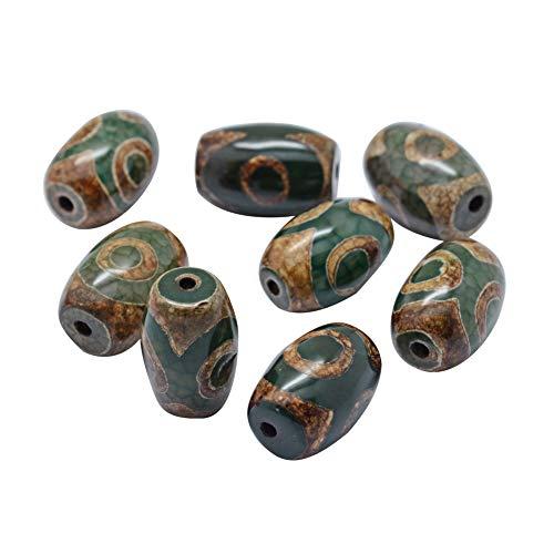 CHGCRAFT 10 unids Estilo Tibetano DZi Ágata Natural Teñida Y Calentada Perlas Ovaladas para Hacer Joyas de Bricolaje Manualidades, Verde Oliva Oscuro