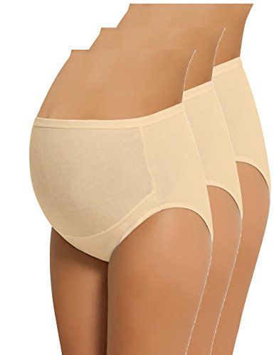 NBB Women's Adjustable Maternity Panties High Cut Cotton Over Bump Underwear Brief (XX-Large, 3 Pack - Beige)