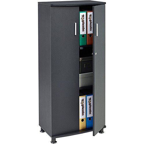 Tall Cupboard with 3 shelves Storage Filing Cabinet Matching Range of Home Office in Graphite Black - Piranha Furniture Bonito PC 6g
