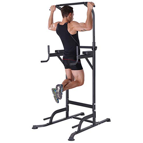 K KiNGKANG Power Tower Pull Up Bar Stand Dip Station Workout Home Gym Adjustable Height Fitness Equipment, T055