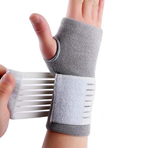 CHRISTY HARRELL Sport-Handgelenk, elastisches und atmungsaktives Gewebe für Sehnenscheidenentzündung, Sport, Bowling, Boxen, Fitness, Bankdrücken, Gewichtheben (1 Stück), grau