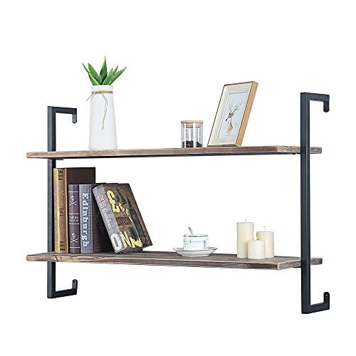 Urban Legacy Reclaimed Wood Shelves | Floating Or with Brackets | Amish Handcrafted in Lancaster County, PA | Set of Two - Genuine, Salvaged (Bracketed Natural, 40