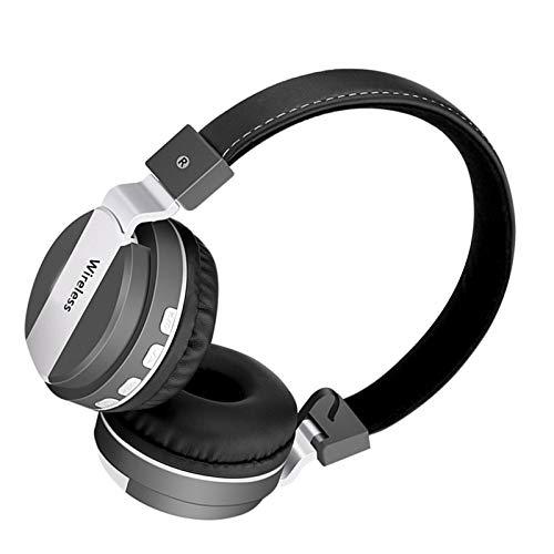 Wsaman Cascos Inalambricos Bluetooth 5.0 Auriculares, Auriculares De Estudio con Cancelación de Ruido, para Correr, Auriculares Inalámbricos de Diadema,Gris