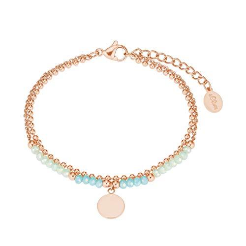 s.Oliver Damen-Armband Armkette Edelstahl Glasperlen roségold/türkis 2027602