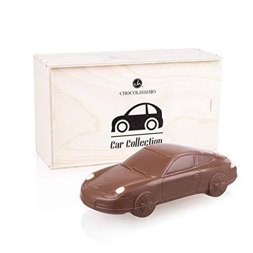 Porsche 911 Carrera - Coche de chocolate - en una caja de madera | Regalo de cumpleaños | Presente para entusiastas del automóvil | Niños | Adultos | Regalo divertido | Hombre | Mujer | Dia del padre