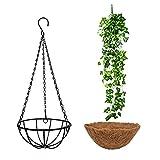 Macetero colgante de metal con forro de coco, cesta colgante para plantas, macetas con cadena, decoración para interiores y exteriores, cesta colgante colgante, 20 cm (2)