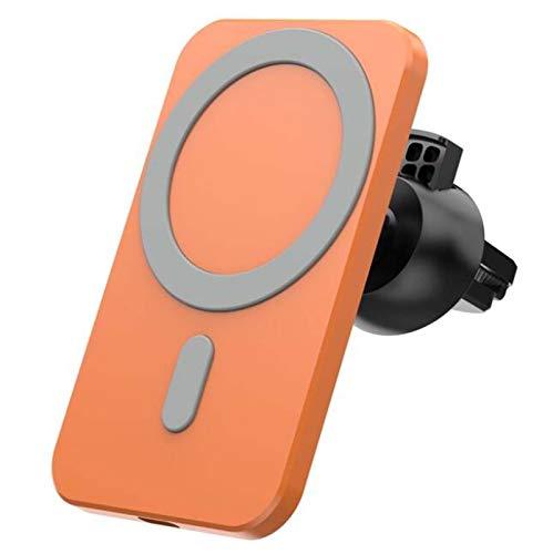 Hikeyota Cargador Inalámbrico Coche Qi Cargador Rápido Wireless Car Charger Soporte Móvil 15W para Samsung S10/S10+/S9 (Orange)