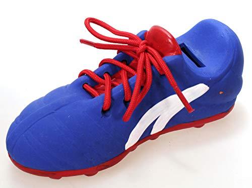 Fußballschuh ALS Spardose blau 17 cm Keramik Schuh mit echtem Schnürsenkel Turnschuh Sparbüchse Sparschwein