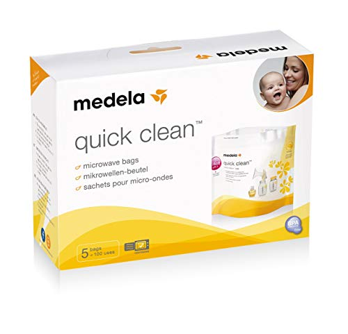 Medela Baby Bottler Steriliser, Quick Clean Microwave Steam Sterilising Bags for Cleaning of Breast Shields, Milk Collection Bottles, Teats, Pacifiers & More, Pack of 5