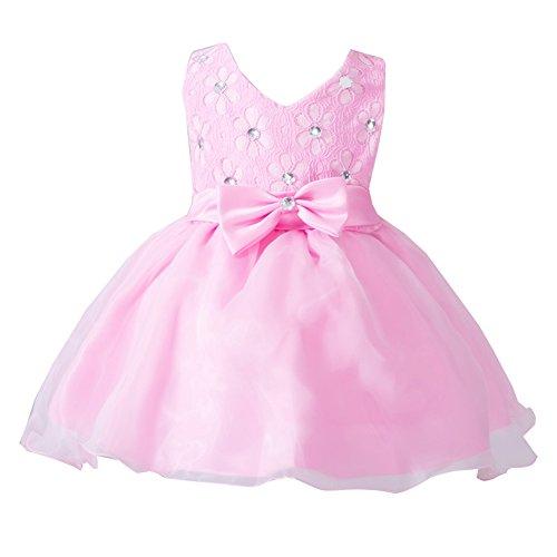 LaoZan Baby - Mädchen V-Ausschnitt Ärmellos Bownot Tüll Festlich Tutu Kleid Prinzessin Kleider...
