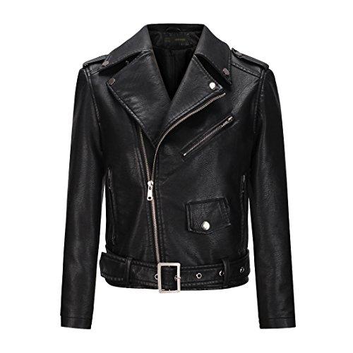YoungSoul Cazadora de mujer, Chaqueta biker de cuero sintético con cremallera asimétrica y cinturón Negro EU 38-40
