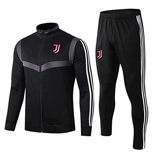 WXHMKGG Herren Schwarz Fußballbekleidung Verein Uniform Langarm Jacke Trainingsanzug Wettkampfanzug L