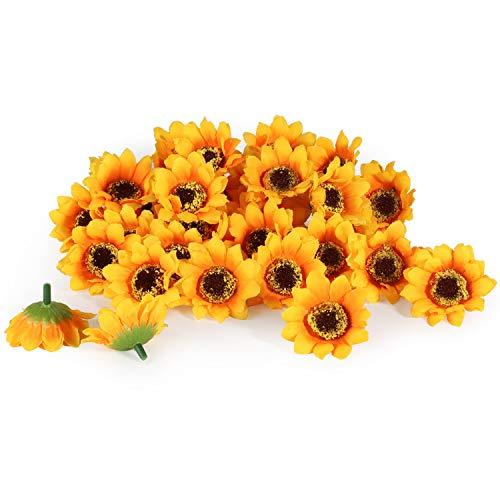 T4U 200 Stücke Seide Künstliche Sonnenblumen-Köpfe, Sonnenblumen Deko-Blüten, Gefälschte Blumen Tischdeko für Hochzeit Party Scatters Konfetti, DIY Basteln Kleidung Dekoration, Gelb, Ф4.5cm