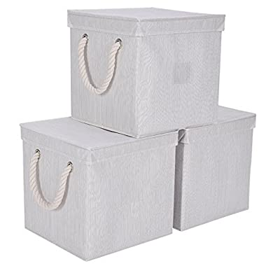 StorageWorks Foldable Storage Cubes With Lids, Stackable Basket Cube Bins With Strong Cotton Rope Handle By, Beige, Bamboo Style, Large 7gal, 3-Pack
