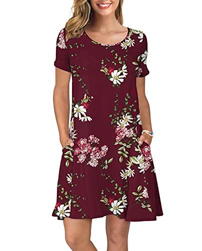 KORSIS Women's Summer Floral Dresses T Shirt Dress Flower Wine Red S