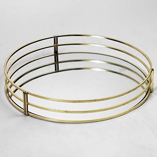 Vassoio rotondo in metallo dorato e specchio, 30 x 5 cm