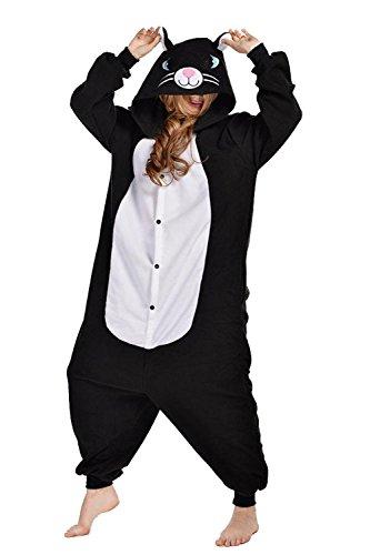 ABYED® Kigurumi Pigiama Anime Cosplay Halloween Costume Attrezzatura,Gatto Nero Taille Adulte L -pour Hauteur 167-175CM