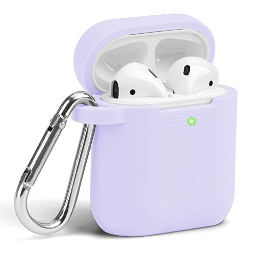 GMYLE Airpods Case Cover with Keychain, [Front LED Visible] Silicone Full Protective Wireless Charging Airpods Case Cover Skin Accessories kit Set Compatible for Apple AirPods 2 & 1 – Lavender Purple