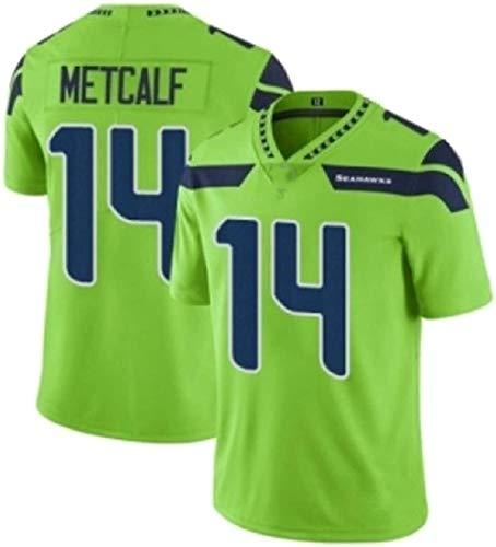 FFZH Equipos Populares Camiseta de Rugby para Hombre # 14 Metcalf Elite Edition Player Seattle Jersey para Entrenamiento Sêahawks Camiseta Deportiva Transpirable-Segundo_2XL (191~195 cm)
