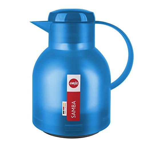 Emsa Samba Isolierkanne 509819 | 1 Liter | Quick Press Verschluss | 100% dicht | 12h heiß, 24h kalt | Azurblau Transluzent