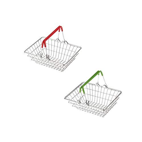 BANGSUN Metal Mesh Wire Basket Grocery Basket 2 Pack Small Colorful Shopping Basket Toy Kids (Random Color)