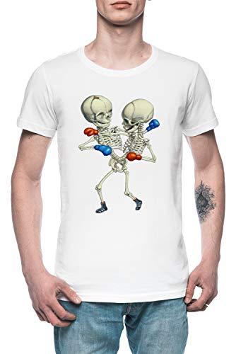 Boxen Zwillinge - Skelett Herren T-Shirt Tee Weiß Men's White T-Shirt